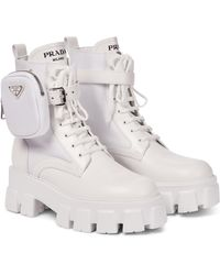 Prada Monolith Leather Ankle Boots - White