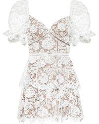 Self-Portrait Floral-lace Minidress - White
