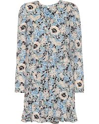 Veronica Beard Riggins Floral Silk Dress - Blue