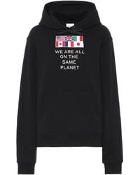Burberry Flag Appliqué and Print Cotton Oversized Hoodie - Schwarz