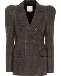 Tibi Checked Wool-blend Blazer - Grey