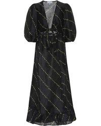 Ganni Vestido midi de lino y seda estampado - Negro