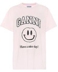 Ganni T-shirt in cotone con stampa - Rosa