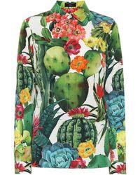 Dolce & Gabbana Exclusivo en Mytheresa – camisa de popelín de algodón floral - Verde