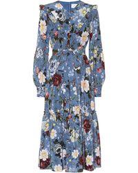 Erdem - Georgeanna Floral Silk Midi Dress - Lyst