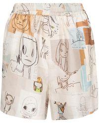 Stella McCartney X Yoshitomo Nara Printed Silk Shorts - White