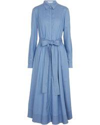 Gabriela Hearst Hemdblusenkleid Sola aus Baumwolle und Seide - Blau