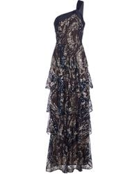 Marchesa notte Sequined One-shoulder Gown - Blue