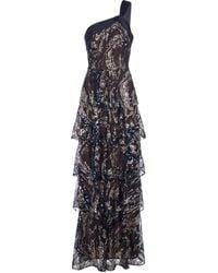 Marchesa notte Vestido de fiesta en capas bordado - Azul
