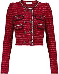 Self-Portrait Cropped-Jacke aus Baumwolle und Wolle - Rot