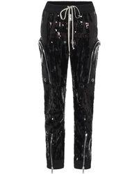 Rick Owens Pantaloni Bauhaus con paillettes - Nero