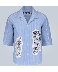Goetze Ted Printed-panel Seersucker Shirt - Blue