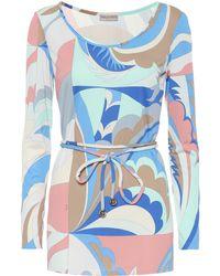 Emilio Pucci Top en mezcla de seda estampado - Azul