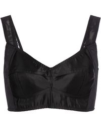 Dolce & Gabbana Stretch-satin Bustier Top - Black