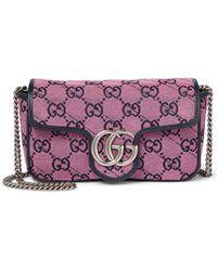 Gucci Tasche GG Marmont Multicolor Super Mini - Pink