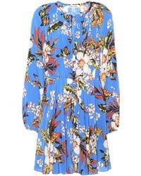 Diane von Furstenberg Floral Silk Dress - Blue