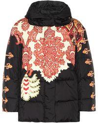 Etro Manteau matelassé imprimé à capuche - Noir