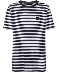 Acne Studios Gestreiftes T-Shirt aus Baumwolle - Blau