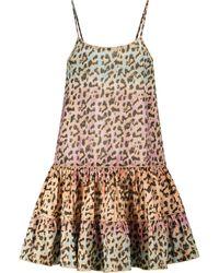 Juliet Dunn Exclusive To Mytheresa – Leopard-print Cotton Minidress - Metallic