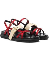 Marni - Leather-trimmed Sandals - Lyst