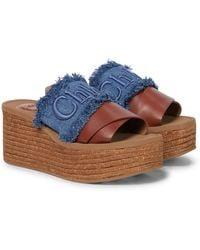 Chloé Plateau-Pantoletten Woody aus Denim - Blau