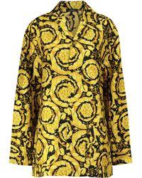 Versace Camisa de pijama de seda estamapada - Metálico