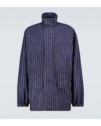 Balenciaga Striped Lightweight Parka Jacket - Blue