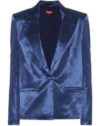 STAUD Madden Cotton-blend Sateen Blazer - Blue