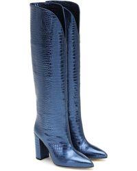 Paris Texas Croc-effect Leather Knee-high Boots - Blue
