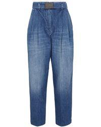 Brunello Cucinelli High-Rise Tapered Jeans - Blau