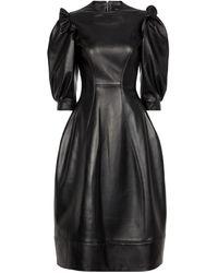 Simone Rocha Vestido midi de piel - Negro