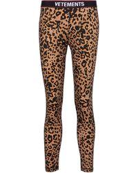 Vetements Leggings con estampado de leopardo - Marrón