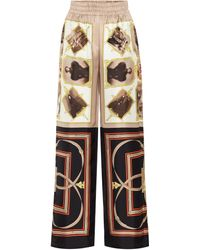 Burberry Printed Silk Trousers - Brown