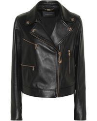 Versace Safety Pin Leather Jacket - Black