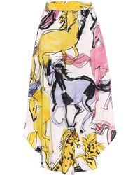 Stella McCartney Falda midi Jacey de crepé estampada - Multicolor