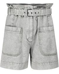 Brunello Cucinelli Paperbag Denim Shorts - Grey