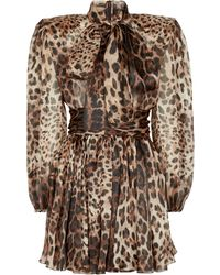 Dolce & Gabbana Miniabito in seta stretch con stampa leopardata - Marrone
