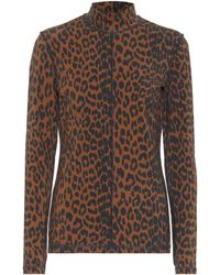 Ganni Leopard-print Stretch-cotton Jumper - Brown