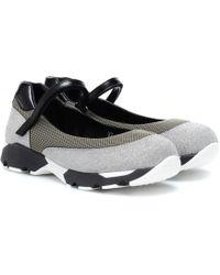Marni Sneakers mit Glitter und Mesh - Grau