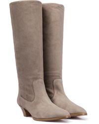 Aquazzura Boogie 45 Suede Knee-high Boots - Grey
