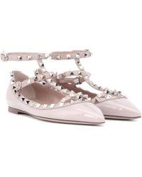 Valentino Garavani Rockstud Patent Leather Ballet Flats - Multicolour