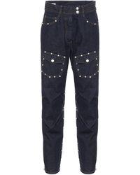 Dries Van Noten Studded Mid-rise Carrot Jeans - Blue