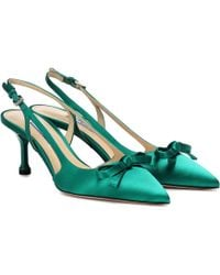 Prada Satin Slingback Court Shoes - Green