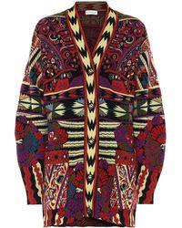 Etro Cardigan en jacquard de laine mélangée - Multicolore