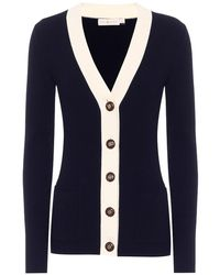 Tory Burch Cardigan Simone in lana - Blu