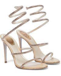 Rene Caovilla Cleo Embellished Leather Sandals - Natural