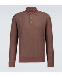 Ermenegildo Zegna Polo de punto de lana de seda - Marrón