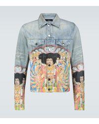Amiri Jimi Hendrix Printed Trucker Jacket - Blue