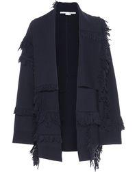 Stella McCartney Cardigan en laine à franges - Bleu