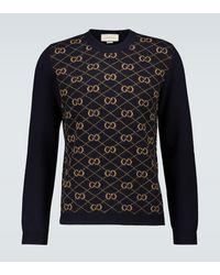 Gucci Gemusterter Pullover aus Wolle - Blau